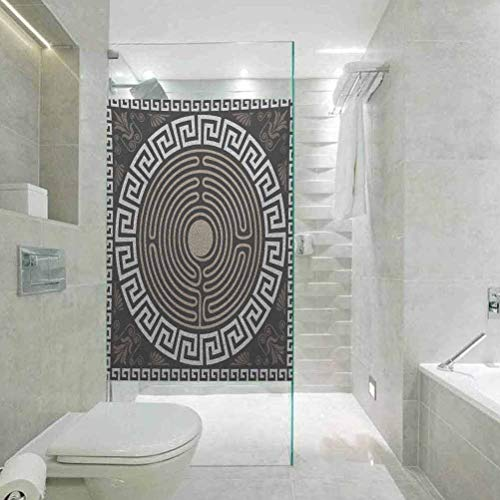 Window Film Static Cling Glass Film, Greek Key Grecian Fret and Wave Pattern on Dark Background Antiqu, Static Glass Film for Bathroom Office Meeting Room Living Room, 17.7' x 78.7'