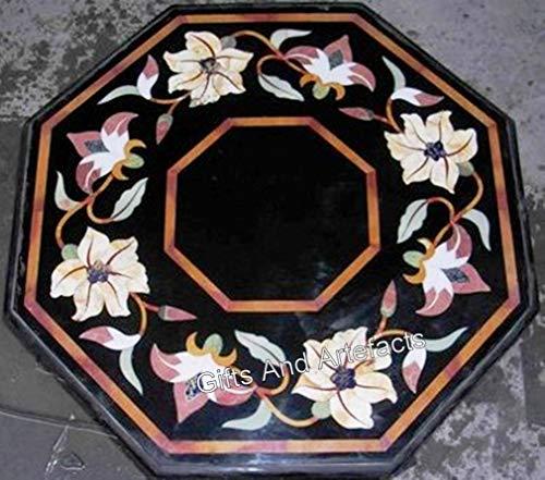 Mesa de centro de mármol negro para patio o patio con artesanías antiguas de 24 x 24 pulgadas