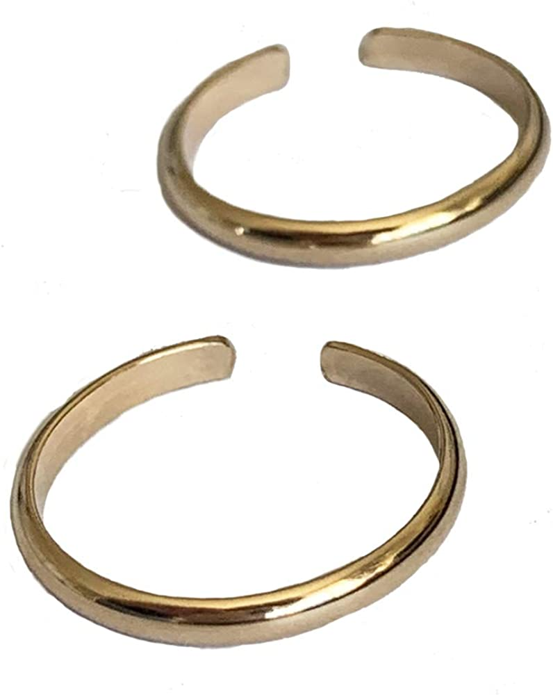 Toe Rings | 2 Rings | 2mm Bands in 14K Gold Fill Gift Pack | Adjustable Ring for Toe or Midi | One Size Fits Most Men or Women