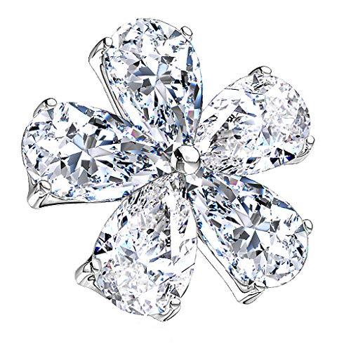 Piercingfaktor Aufsatz für Dermal Anchor Piercing Hautanker Implantat Skin Diver mit Strass Kristall Blume Silber