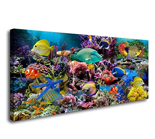 D72662 Great Barrier Reef Colorful Coral and Fish Large Wall Decor Canvas Wall Art Artwork Painting Ocean Decor for Living Room Bedroom Bathroom Decoration