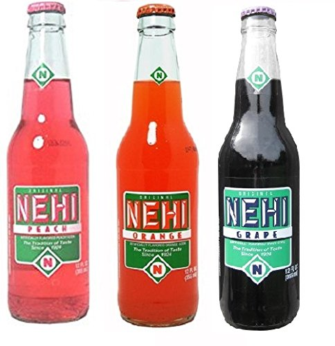 Nehi Soda 3-Pack: Grape, Orange and Peach (12oz long neck bottles)