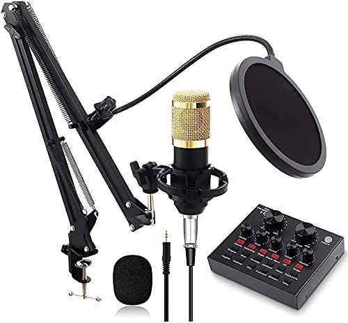 BJH Micrófono de Condensador Profesional, Brazo de Tijera de suspensión de micrófono Ajustable, con Tarjeta de Sonido en Vivo Compatible con PC/computadora portátil/Tableta/teléfono / PS4,