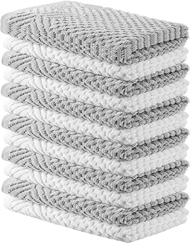 Oakias Kitchen Towels Grey and White (12 Pack, 16 x 26 Inches) – Cotton Kitchen Hand Towels – Highly Absorbent & Quick Drying Dish Towels
