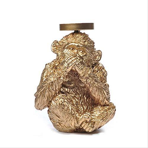 DOUYA ornamenten voor woonkamer hars ambachten gouden imitatie koper goud draad aap kandelaar woonkamer studie huisdecoratie