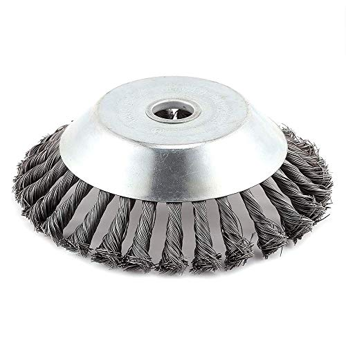 "Lawn Mower Weeding Tray 6"" Wire Wheel Steel Brush Grass Trimmer Head Wire Brush Cutter Rust Removal Weed Cleaning Tools"