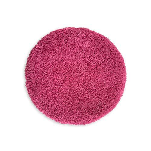 WohnDirect Alfombrilla de baño redonda combinable individualmente con el juego • Alfombrilla de baño alfombrilla de ducha • antideslizante y lavable • Alfombra de baño rosa • aprox. 56 cm redonda