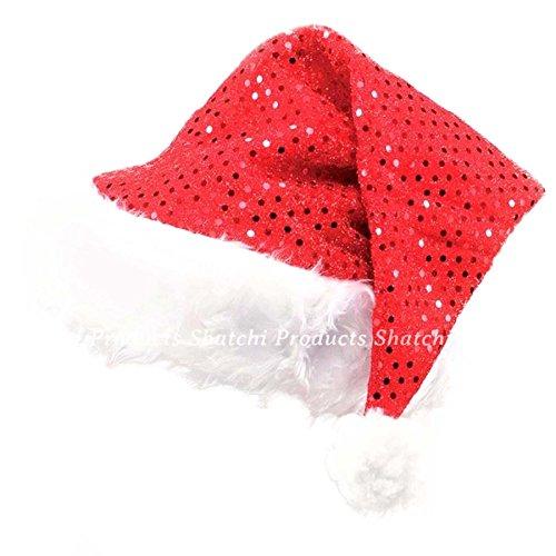 Gifts 4 All Occasions Limited- Santa Hat Lot de 2 Chapeaux de Père Noël avec Paillettes, SHATCHI, Rouge/Blanc, Taille Unique