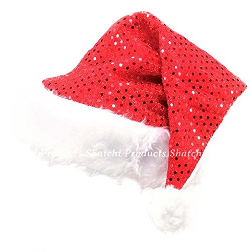 Gifts 4 All Occasions Limited SHATCHI-1408 Lot de 2 chapeaux de Père Noël avec paillettes Rouge/blanc