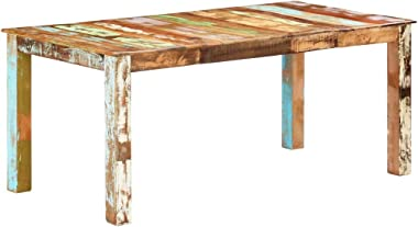 vidaXL Dining Table Home Dining Room Kitchen Café Restaurant Wooden Accent End Side Dinner Table Furniture Solid Reclaimed Wo