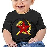 RFGEJH Camiseta comunista de manga corta de algodón para bebé de la URSS Hammer Sickle and Star, Negro, 6 Meses