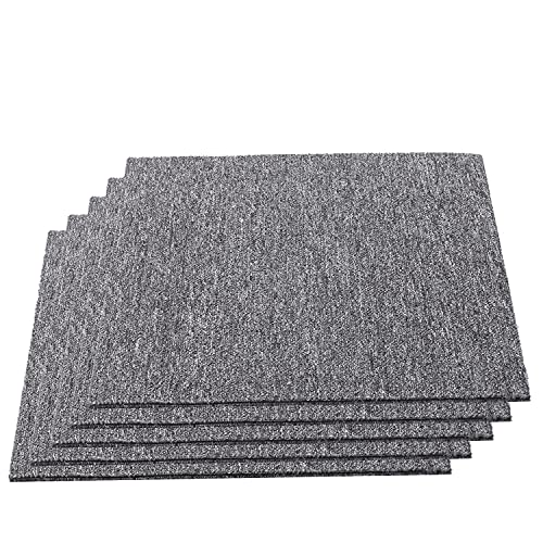 20 unidades de baldosas de moqueta auto-tumbadas, 50 x 50 cm, resistentes, con parche adhesivo para todas las áreas, hogar, oficina, dormitorio, antideslizante, gris claro, 5 ㎡ (gris oscuro)