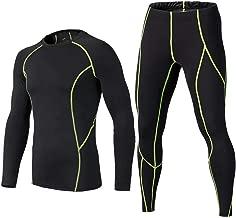BUYKUD Kids' Boys Long Sleeve Athletic Base Layer Compression Underwear Shirt & Tights Set