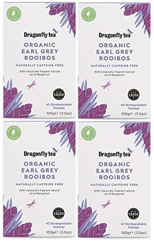 (4 Pack) - Dragonfly Tea - Earl Grey Rooibos Tea | 40 Bag | 4 Pack Bundl