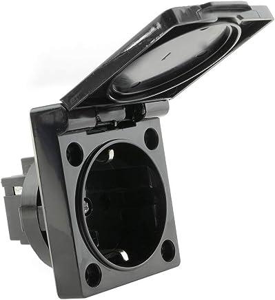 BeMatik - Steckdose Unterputz IP44 mit schwarz Kappe Schrauben