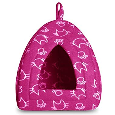 Hollypet 12 × 12 × 17 inches Self-warming Comfortable Triangle Cat Bed Tent House, Red Kitten