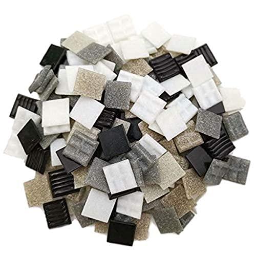 Armena Mosaikstein MosaiksteinMosaikfliesen vidrio 2x2 cm 500 g (aproximadamente 170 unidades) de color blanco, gris y negro.