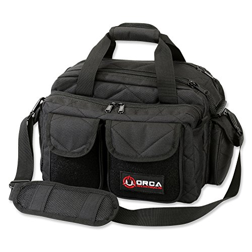 Orca Tactical Gun Shooting Range Bag Handgun Pistol and Ammo Duffle Carrier (Black)