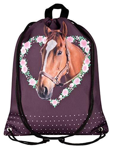Aminata Kids - Gymtas voor meisjes met spullen meisjes huisdier-e paard-e sporttas gymtas sporttas tas antraciet roze grijs eenhoorn bloemen.