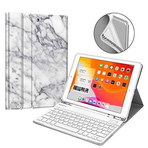 Fintie Tastatur Hülle für iPad 10.2 Zoll (8. und 7. Generation - 2020/2019), Soft TPU Rückseite Gehäuse Schutzhülle mit Pencil Halter, magnetisch Abnehmbarer Tastatur mit QWERTZ Layout, Marmor Weiß
