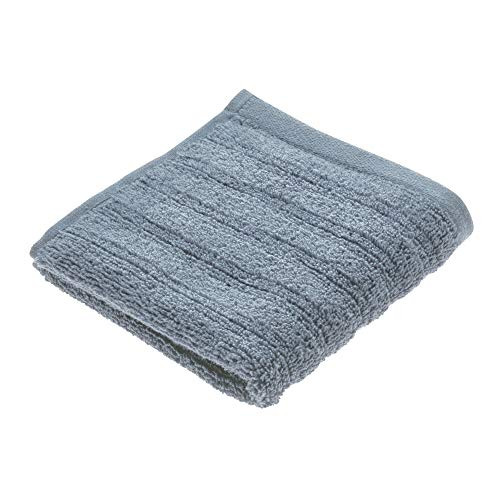 Price comparison product image iDesign Face Cloth,  Small Ribbed Cotton Hand Towel,  Soft Flannel Face Cloth for the Face and Hands or for the Shower and Bath,  Grey Blue