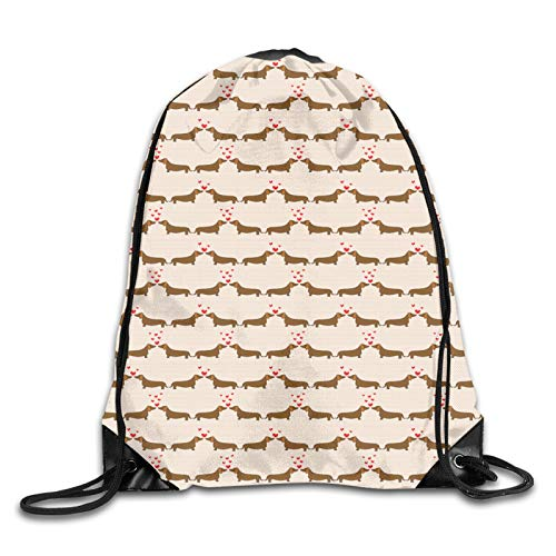 Drawstring Backpack Bag for Men Women,Cartoon Sausage Dogs In Love On Polka Dotted Backdrop,Great for Yoga, Travel, Hiking, Beach Bags