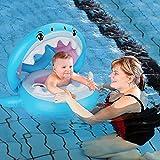 Thnkstaps Flotador de Natación para Bebés con Toldo Ajustable, Natación Anillo Inflable Flotador, Anillo de Natación Piscina para Bebé, Flotadores para bebés con Bomba Manual