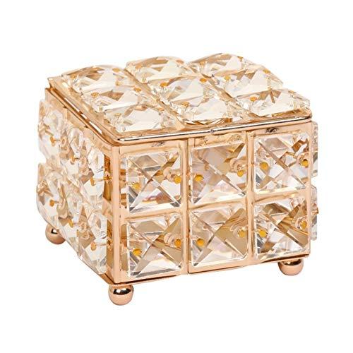 WGGTX Cajas y organizadores de Joya Decoración para el hogar Rhinestone Pendiente Anillo Perlas Caja de Almacenamiento Cristal Organize Holder Jewelry Cajas con Cubierta