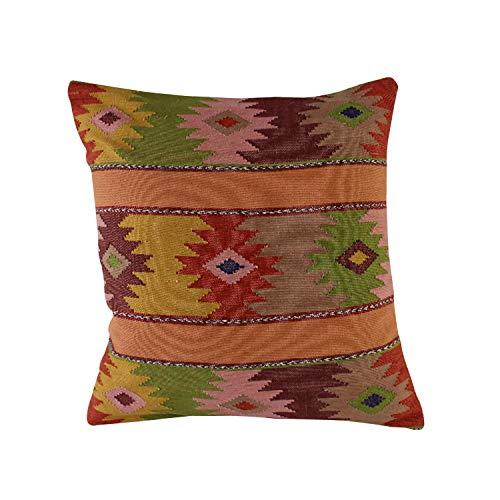 Handgeweven sofakussen Yaluma Ocker wit eenzijdig, vintage kussensloop, handgeweven sierkussen, handgemaakt textiel, sierkussen met vulkussen, cadeau-idee