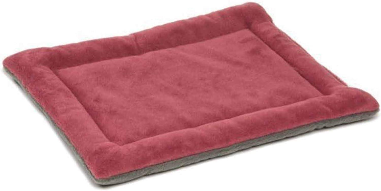 PETFDH Four Seasons Dog Bed Pet Cushion Warm Sleeping Mattress Bed Cat Cozy Nest Kennel Pet House Mat Bedding Light red 89X56cm