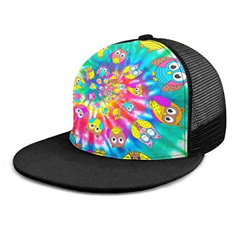 Gorra de béisbol Búhos en Espiral Cabeza Tie Dye Owl Gorras de béisbol Unisex Snapback Flat Bill Hip Hop Sombreros/Sombrero Negro