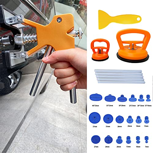 S-SNAIL-OO Car Dent Puller Repair Kit, Paintless Golden Dent Lifter Puller,Ding Remover Tool Set for car,Auto Body Dent Repair and Hail Damage ,with 2 pcs Dent Puller Suction Cups