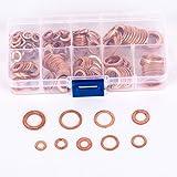 200arandelas planas de cobre, anillo de junta plana, de M5 a M14, con caja de almacenaje