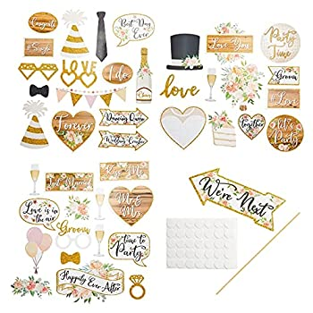 Wedding Photo Booth Prop Kit for Bridal Shower Bachelorette Party  70 Pieces