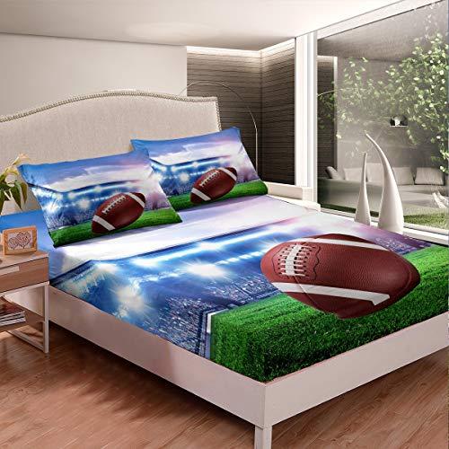 Loussiesd Juego de sábanas de rugby para niños y niñas, juego de sábanas de rugby, juego de cama con 2 fundas de almohada, 3 piezas, ropa de cama doble