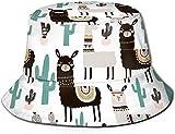 Unisex Animales exóticos del zoológico Sombrero de Cubo de Viaje Gorra de Pescador de Verano Sombrero para el Sol-Cactus de Camello de Dibujos Animados Lindo