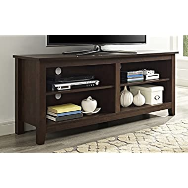 WE Furniture 58  Wood TV Media Stand Storage Console - Traditional Brown
