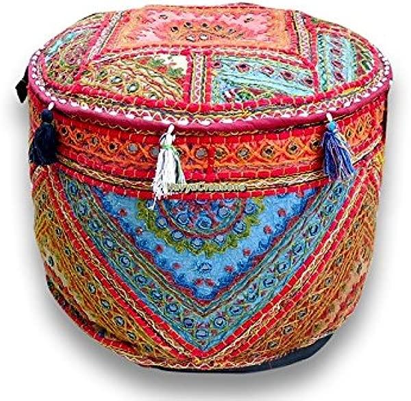 Navya Creations Bohemian Patch Work Pouf Ottoman Traditional Vintage Indian Pouf Floor Stool Foot Stool Christmas Decorative Chiar Ottoman Cover 100 Cotton Art Decor Cushion Cover Pouf