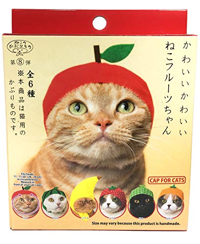 Kitan Club Cat Cap - Pet Hat Blind Box Includes 1 of 6 Cute Styles - Soft, Comfortable - Authentic Japanese Kawaii Design - Animal-Safe Materials, Premium Quality (Fruit)