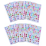 Antner 1128pcs Self-Adhesive Rhinestones Gems Stickers, Multicolor Arts and Crafts Gems Crystal Diamond Stickers Adhesive Bling Jewels, Assorted Size, 12 Sheets
