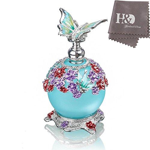 H&D Lust auf Retro Frosted Leere nachfüllbare Parfümflasche aus blauem Glas mit Schmetterlingsstopfen 23ml
