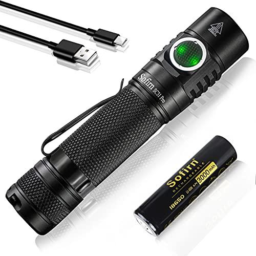 Sofirn SC31 Pro Led wiederaufladbare Taschenlampe Max 2000 Lumen 5000K Leistungsstarke Taschenlampe EDC Taschenlampe mit 6 Helligkeitsmodi enthalten 18650 Batterie für die Suche nach Wanderungen