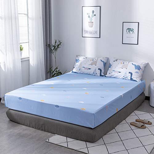 MICBRIDAL Cloud Spannbettlaken Queen Blue Super Soft 100% Baumwolle Spannbetttuch mit 38,1 cm Tiefe Tasche Cartoon Wolke Regen Print Bettlaken Jungen Mädchen Kinder Spannbetttuch nur 1 Stück