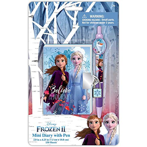 Disney Frozen 2 Anna and Elsa Mini Journal for Girls with Lock, Key and Pen