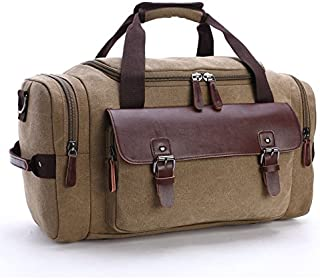 Rubik Canvas Carry on Travel Duffle Bag Large Capacity For Overnight Travel, Sports, Weekend For Men Women - Khaki