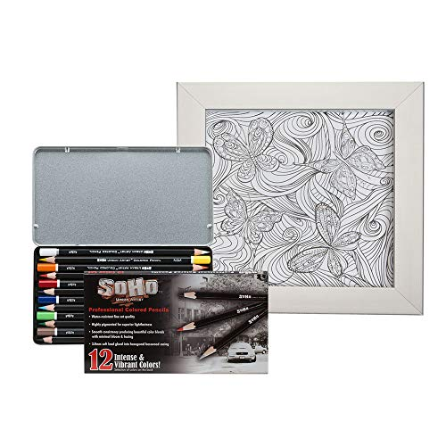 Soho Urban Artist Framed Coloring Kit with Vibrant 12 Count Colored Pencil Tin and Metal Picture Frame [Set] - Butterfly Design