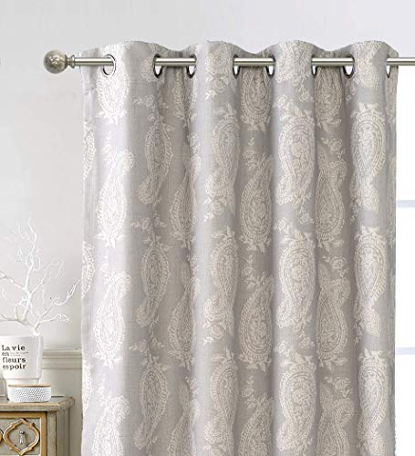 DriftAway Cathy Curtain Linen Blend 2 Layers Farmhouse and Modern Rustic Room Darkening Blackout Grommet Curtains for Living Room Bedroom Paisley Block Print Style 2 Panels 52 Inch by 84 Inch Gray