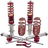 maXpeedingrods Amortiguadores Ajustables Muelle 2 Delanteros y 2 Traseros Suspensión Roscada de Coches Set Coilover para Golf MK4 1.4 1.6 1.8 1998-2003