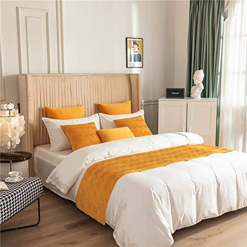 SXY-DT Runner Lit Scrap Scarf Couvre-lit Home Hôtel Hôtel Literie Confy Velvet mais Serviette à Coucher,Yellow- 45x210cm /1.8m Bed