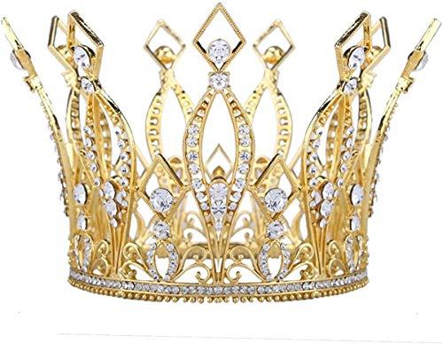 Logo Golden Crown, Hochzeit Braut und Brautjungfern-Kopfschmuck Schmuck, edle und Elegante Königin Full Circle Crown (Color : Gold)